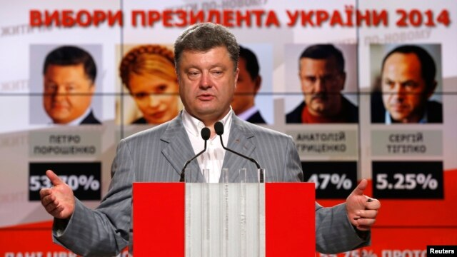 Ukrainian President-elect Petro Poroshenko speaks during anews conference in Kyiv, May 26, 2014.