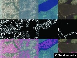 By column, four different convolutional filters (which identify, from left to right, features corresponding to urban areas, nonurban areas, water, and roads) in the convolutional neural network model used for extracting features. (Source - Sciencemag.org)
