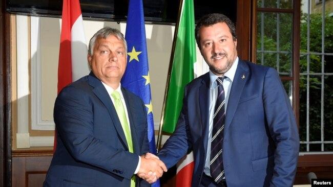 Italian Interior Minister Matteo Salvini meets with Hungarian Prime Minister Viktor Orban in Milan, Italy, Aug. 28, 2018.