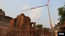 Parts of Phnom Bakheng temple in Cambodia's Siem Reap province being restored.