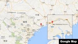 越中边境广宁省与中国接壤的边镇北风生(Bac Phong Sinh)位置图