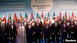 Pemimpin dan perwakilan negara anggota Organisasi Kerjasama Islam dalam pertemuan luar biasa di Istanbul, Turki, 13 Desember 2017.