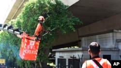 A team of migrant workers from India trim the trees along Holland Road in Singapore on Sunday, Apr. 19, 2020. The number of new coronavirus cases in the city state has more than doubled over the past week amid an explosion of infections in crowded…