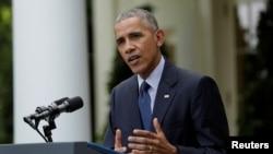 """""""Este acuerdo ayudará a retrasar y evitar algunas de las peores consecuencias del cambio climático"""", dijo el presidente Barack Obama en la Casa Blanca."""