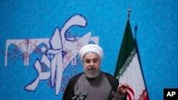 Tổng thống Iran Hassan Rouhani phát biểu trước sinh viên trường đại học Tehran, Iran, ngày 06/12/2016.