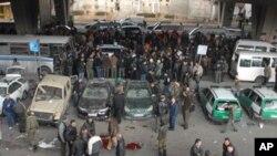 자살폭탄공격이 일어난 시리아 수도 다마스쿠스의 한 교차로