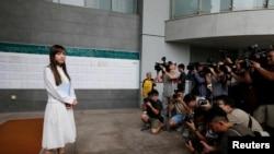 游蕙祯2018年6月4日进入法庭前与媒体见面(路透社)