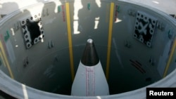 FILE - A ground-based U.S. missile is seen in its silo at Vandenberg Air Force Base in California.