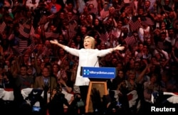 Hillary Clinton speaks at a rally held in the Brooklyn, New York after learning she had won enough delegates to be the first-ever woman to win the nomination to run for the presidency.