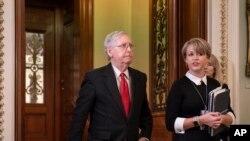 Le chef de la majorité au Sénat, Mitch McConnell, au Capitole de Washington, le mardi 21 janvier. 2020. (Photo AP / J. Scott Applewhite)