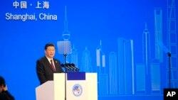 中国国家主席习近平2018年11月5日在上海举办的第一届中国国际进口博览会上讲话。