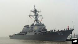 """美國海軍""""史塔森""""號(Stethem)驅逐艦資料照。"""