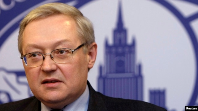 FILE - Russia's Deputy Foreign Minister Sergei Ryabkov speaks during a news briefing in Moscow, Dec. 15, 2008.)