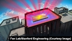 This illustration shows a reflective panel that is coated with a material invented by Stanford engineers, designed to help cool buildings without air conditioning. (Fan Lab, Stanford Engineering)