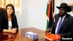 FILE - South Sudan President Salva Kiir meets U.S. Ambassador to the United Nations Nikki Haley in Juba, South Sudan, Oct. 25, 2017.