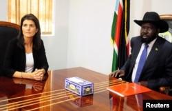 South Sudan President Salva Kiir meets U.S. Ambassador to the United Nations Nikki Haley in Juba, South Sudan, Oct. 25, 2017.