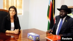 South Sudan President Salva Kiir meets U.S. Ambassador to the United Nations Nikki Haley in Juba, South Sudan, Oct. 25, 2017.