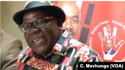 Tendai Biti, the head of the People's Democratic Party speaking to reporters in Harare, July 14, 2018, has fled to neighboring Zambia seeking asylum.