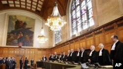 Judges of the International Court of Justice in The Hague, The Netherlands. (file photo)