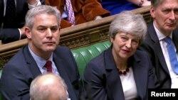 Thủ tướng Anh Theresa May trong phiên bỏ phiếu ở Hạ viện hôm 1/4