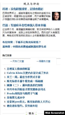 纽约时报中文网截图(网络截屏)