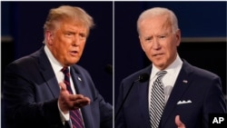 FILE - President Donald Trump, left, and former Vice President Joe Biden are seen during the first presidential debate at Case Western University and Cleveland Clinic, in Cleveland, Ohio, in this combination of Sept. 29, 2020, photos.