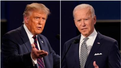 Presiden Donald Trump, kiri, dan mantan Wakil Presiden Joe Biden terlihat selama debat calon presiden AS pertama di Case Western University dan Cleveland Clinic, di Cleveland, Ohio, 29 September 2020. (Foto: AP)