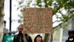 Dîmenek ji protestoyên dijî qedexeyên COVID-19 li London (Arşîv)