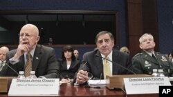 From left, Director of National Intelligence James Clapper, CIA Director Leon Panetta, and Lt. Gen. Ronald Burgess, head of the Defense Intelligence Agency, testify on Capitol Hill in Washington, Feb 10, 2011