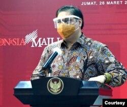 Menko Perekonomian Airlangga Hartarto di Istana Kepresidenan , Jakarta, Jumat, 26 Maret 2021 mengatakan jumlah provinsi di Indonesia yang melakukan PPKM Mikro akan diperluas (biro setpres).