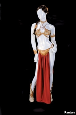 """The Princess Leia slave costume worn by actress Carrie Fisher in """"Star Wars Episode VI: Return of the Jedi"""" is shown in this handout photo released to Reuters, Sept. 16, 2015."""