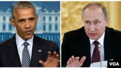 President AS Barack Obama (kiri) di Gedung Putih, dan Presiden Rusia Vladimir Putin di Moskow.