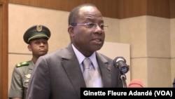 Adrien Houngbédji, président de l'Assemblée nationale à Cotonou, le 21 mars 2019. (VOA/Ginette Fleure Adandé)