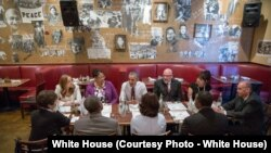 President Barack Obama meets for lunch with former prisoners who had their sentences reduced at Busboys and Poets in Washington, D.C., March 30, 2016. (White House Photo by Pete Souza)