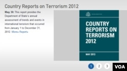 미국 국무부는 30일 웹사이트에 '2012 테러보고서'를 공개했다. 북한은 5년째 테러지원국 명단에서 제외됐다.