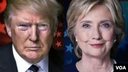共和党总统候选人川普(左)与民主党总统候选人克林顿