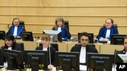 Audience à la Cour pénale internationale (CPI) à La Haye, aux Pays-Bas, le 10 février 2014.