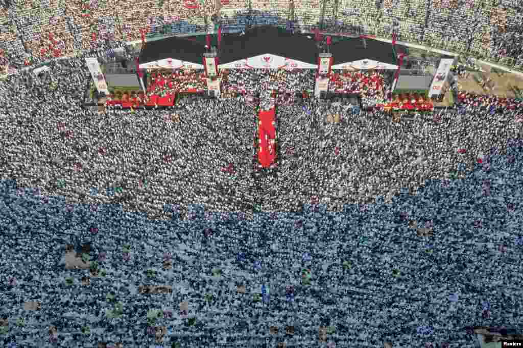 An aerial view of a campaign rally of Indonesia's presidential candidate Prabowo Subianto and his running mate Sandiaga Uno at Gelora Bung Karno Main Stadium in Jakarta in this photo taken by Antara Foto.