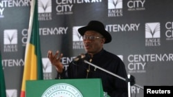 FILE - Nigeria's President Goodluck Jonathan speaks during the groundbreaking ceremony of the Centenary City project in Abuja, June 24, 2014.