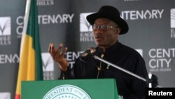 FILE - Nigeria's President Goodluck Jonathan speaks in Abuja, June 24, 2014.