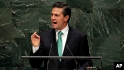 President Enrique Peña Nieto, of Mexico, addresses the 69th session of the United Nations General Assembly, at U.N. headquarters, Sept. 24, 2014.
