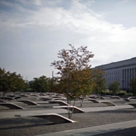 The Pentagon memorial is shown on June 28, 2011, near the impact site American Airlines Flight 77 which hit the Pentagon during the attacks of September 11, 2001 near Washington