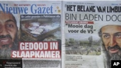 A composite of Belgian front pages shows Osama Bin Laden and U.S. President Barack Obama on Tuesday, May 3, 2011. Headlines read clockwise from bottom left, 'Obama nabs Osama', 'Killed in his bedroom', 'Bin Laden is dead, a beautiful day for the United St