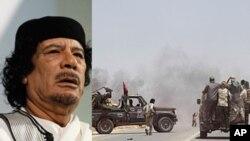 معمرالقذافی رئیس جمهور لیبیا و نیرو های مخالف دولت لیبیا