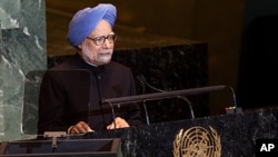 Prime Minister of India Manmohan Singh speaks at the 66th United Nations General Assembly at U.N. headquarters, September 24, 2011.