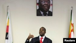 Zimbabwe's main opposition party the Movement For Democratic Change says Nelson Chamisa will serve as president of the party until Morgan Tsvangirai returns from receiving cancer treatment in South Africa.