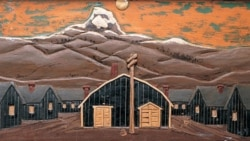 """""""Camp Scene"""" by an unidentified artist held at Heart Mountain, Wyoming"""