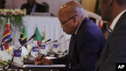 South African President Jacob Zuma is seen at the Southern African Development Community (SADC) meeting in Harare, April, 29, 2015.