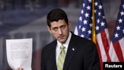 폴 라이언 미 하원의장이 19일 기자회견을 열고 시리아 난민 정책에 대한 입장을 밝히고 있다.