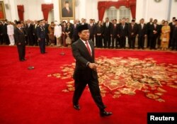Mantan Panglima TNI Jenderal (Purn) Moeldoko dilantik menjadi Kepala Staf Presiden, dalam upacara pelantikan di Istana Presiden, Jakarta, 17 Januari 2018.